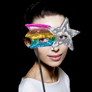 """8"""" Sequin Mask with Stick- Silver & Rainbow Colors"""