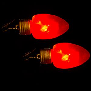 "2"" Flashing Bulb Shape Earrings- Red"