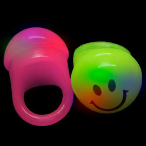 LED Light Up Jelly Smiley Face Rings