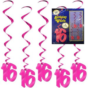 16 Pink Whirl Decorations