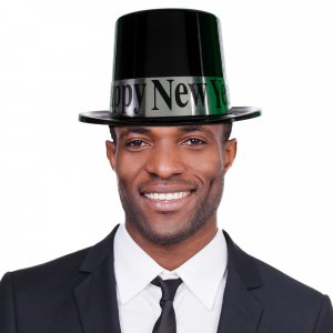 Black & Silver Happy New Year Top Hat