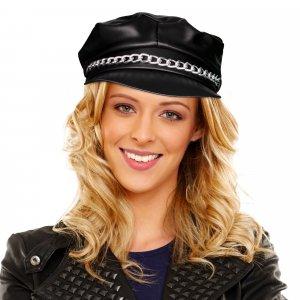 Black Vinyl Biker Hat