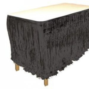 Black Metallic Fringed Table Skirt