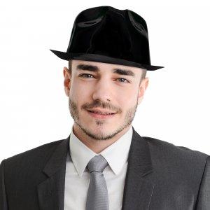 Black Plastic Fedora Hats