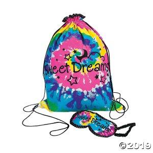Large Tie-Dyed Sleepover Drawstring Bag with Eye Mask (1 Set(s))