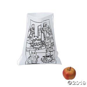 Color Your Own Medium Superhero Drawstring Bags (Per Dozen)