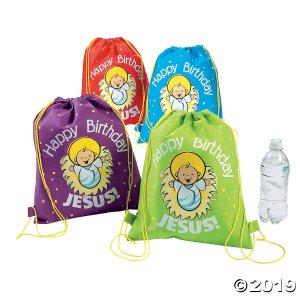 Happy Birthday Jesus Medium Drawstring Bags (Per Dozen)