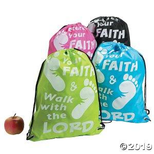 Large Exercise Your Faith Drawstring Bags (Per Dozen)