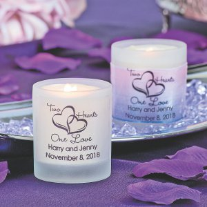 Personalized Two Hearts One Love Wedding Votive Candle Holders (Per Dozen)