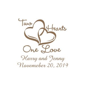 Personalized Two Hearts Gold Votive Candle Holders (Per Dozen)
