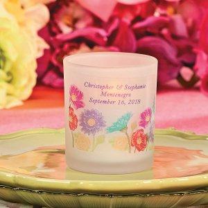 Personalized Love in Bloom Votive Candle Holders (Per Dozen)