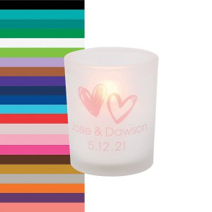 Personalized Hearts Frosted Votive Candle Holders (Per Dozen)