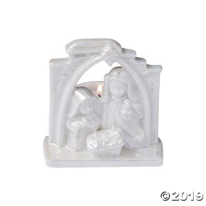 White Ceramic Nativity Candle Holders (1 Set(s))