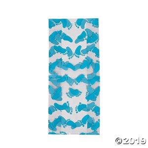 Blue Baby Footprint Cellophane Bags (Per Dozen)