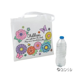 Color Your Own Medium Religious Mother's Day Tote Bags (Per Dozen)