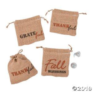 Mini Fall Harvest Burlap Drawstring Treat Bags (Per Dozen)