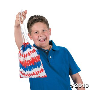 Medium Tie-Dyed Patriotic Drawstring Bags (Per Dozen)