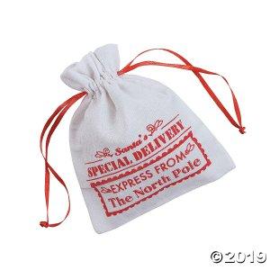 Mini Santa Canvas Drawstring Bags (Per Dozen)