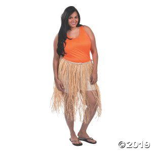 Adult's Plus-Size Raffia Hula Skirt