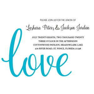 Personalized Love Script Wedding Invitations (25 Piece(s))