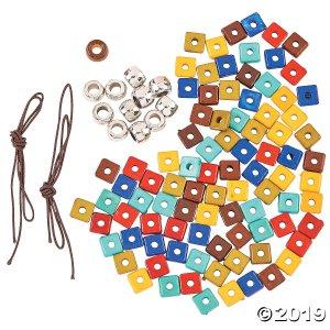 Flat Square Bead Stretchy Bracelet Craft Kit (Makes 2)