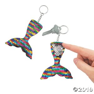 Mermaid Tail Reversible Sequin Keychains (Per Dozen)
