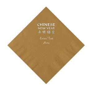 Gold Chinese New Year Personalized Napkins with Silver Foil – Luncheon (50 Piece(s))