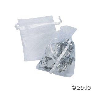 Mini White Organza Drawstring Treat Bags (50 Piece(s))