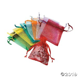 Mini Colorful Organza Drawstring Treat Bags (50 Piece(s))