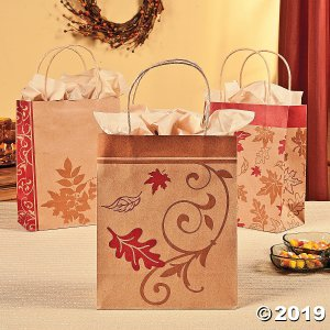 Medium Fall Kraft Paper Gift Bags (Per Dozen)