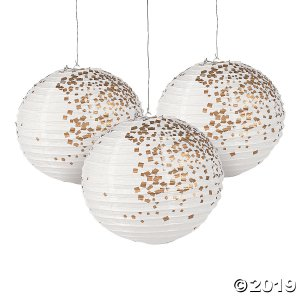 White & Gold Patterned Hanging Paper Lanterns (6 Piece(s))