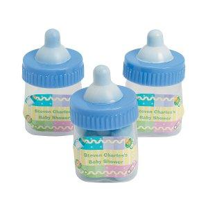 Personalized Blue Baby Bottle Favor Containers (Per Dozen)