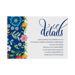 Personalized Mexican Floral Wedding Reception Cards (25 Piece(s))