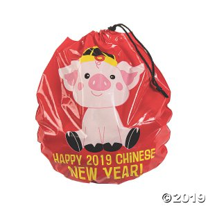 Year of the Pig Plastic Drawstring Goody Bags (24 Piece(s))