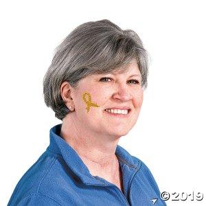 Gold Awareness Ribbon Tattoo Stickers (Per Dozen)