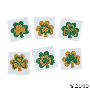 Glitter Shamrock Tattoo Stickers (Per Dozen)