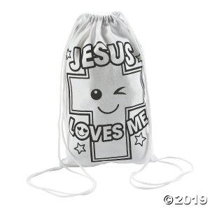 Color Your Own Medium Jesus Loves Me Drawstring Bags (Per Dozen)