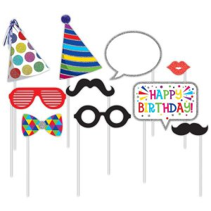 Birthday Photo Booth Prop Kit (Per 10 pack)