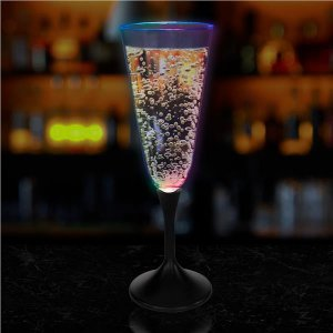 LED 7 oz Champagne Glass Black Stem