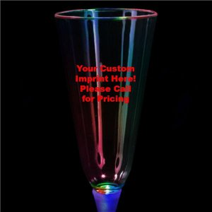 LED 7 oz  Champagne Glass White Stem