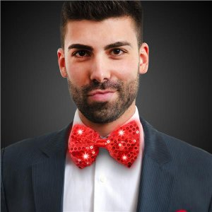 LED Red Sequin Bow Tie