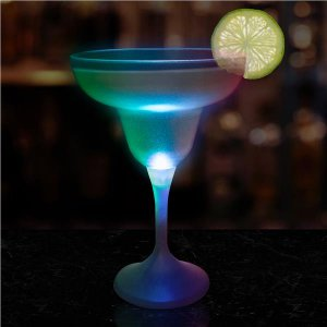 LED 10 oz Margarita Glass White Stem