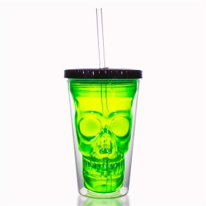 Neon Green LED Skull Cup