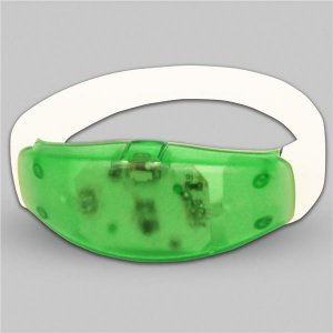 Sound Activated Green LED  Stretchy Bracelet