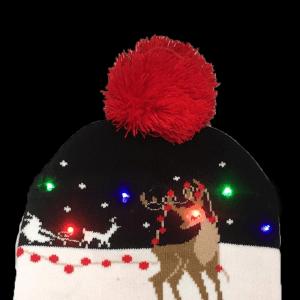 LED Light-Up Knitting Christmas Elk Hat
