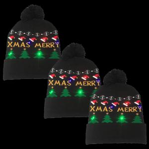 LED Light-Up Knitting Merry Christmas Hat