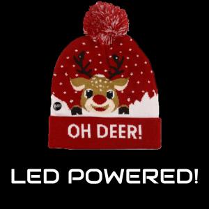 LED Light-Up Knitting Christmas Oh-Deer ! Hat