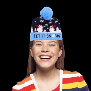 LED Light-Up Knitting Christmas Let It Snow Hat