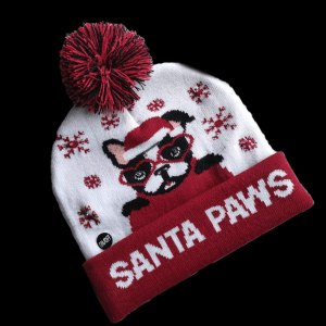 LED Light-Up Knitting Christmas Santa Paws Hat