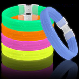 8 Inch Triple Wide Glowstick Bracelets - 5 Color Mix